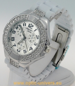 Montre femme softouch blanc strass  watch uhr