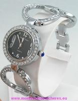 Montre femme ronde bracelet acier strass fond noir