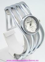 Montre femme bracelet ondulé clip acier watch uhr