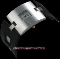 Montre femme bracelet acier et cuir noir