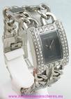 Montre femme strass bracelet gourmette acier